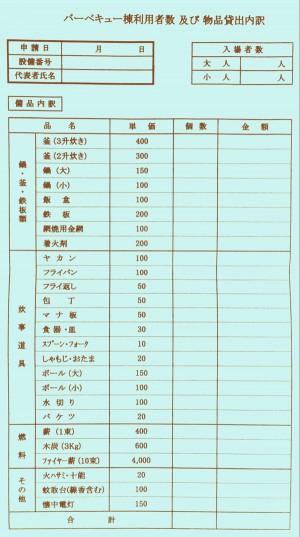 バーベキュー道具表