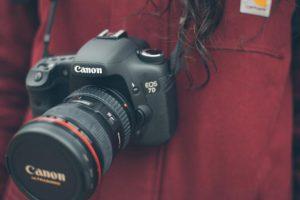 首からかけたカメラ