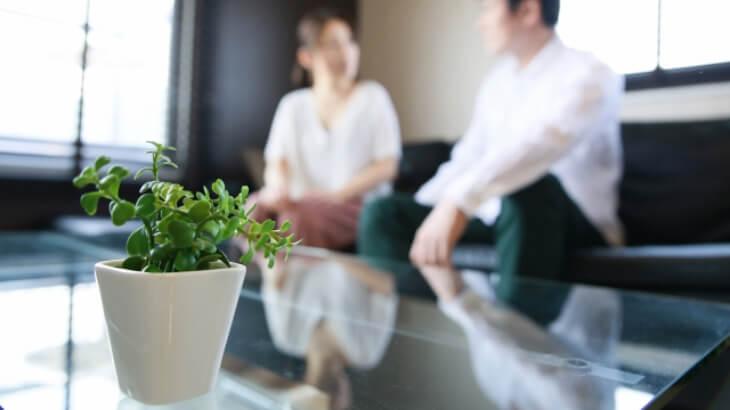 観葉植物と男女