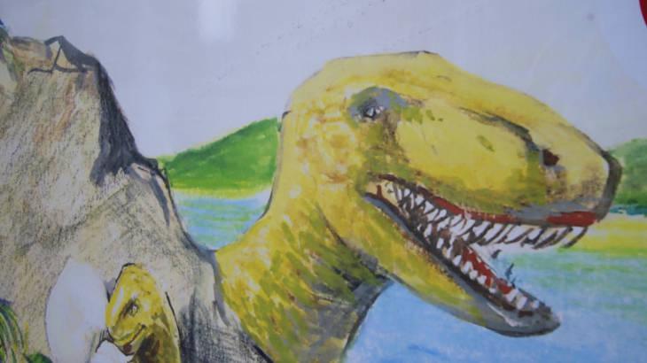 下京町の恐竜看板 接写1