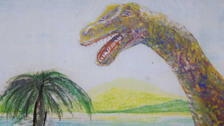 下京町の恐竜看板 接写2