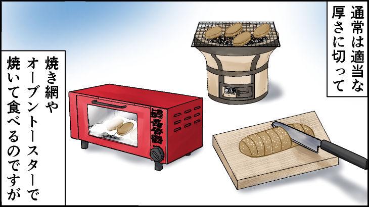 通常は適当な厚さに切って焼き網やオーブントースターで焼いて食べるのですが・・・