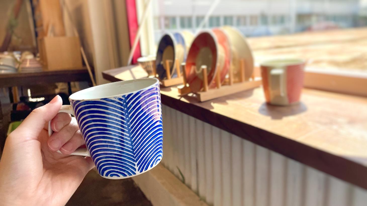 シマシマ模様のカップ